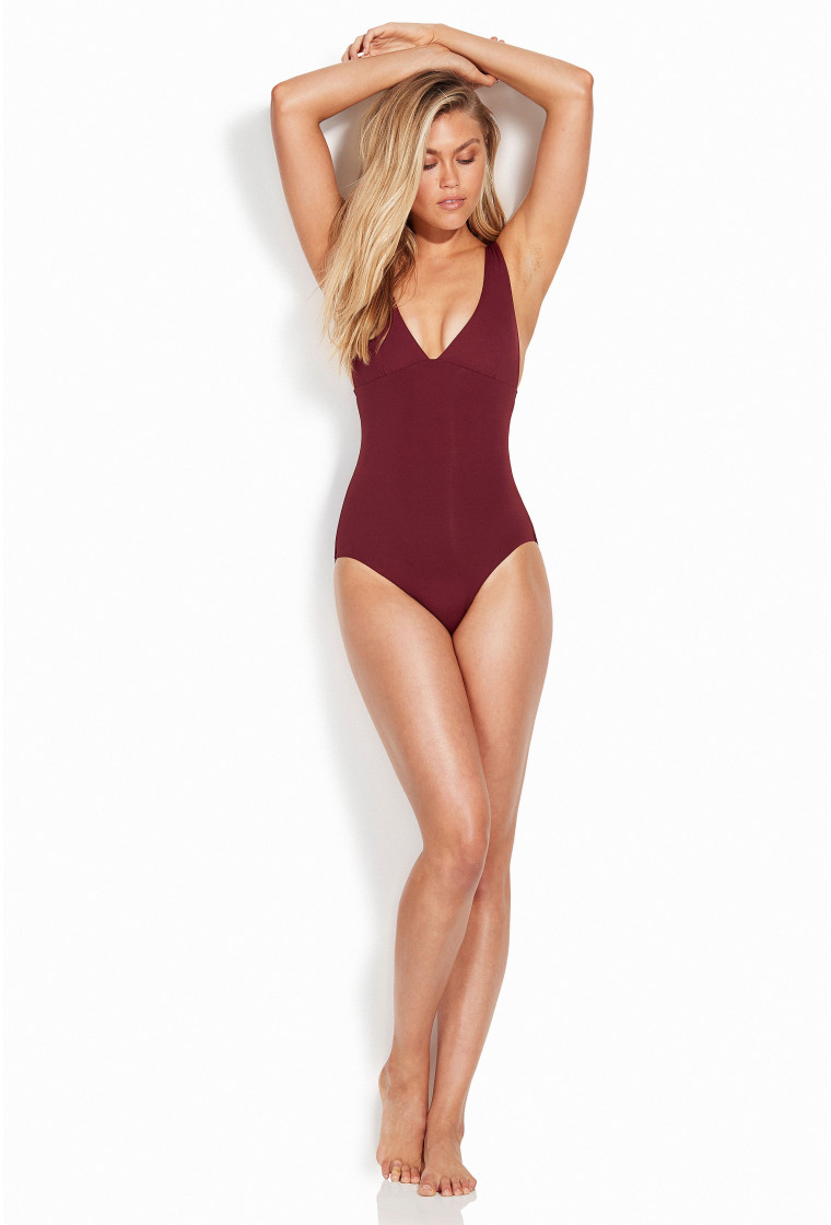 "SEAFOLLY, ""V"" Neck Swimsuit, Plum"