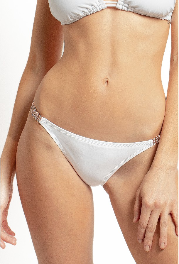 Thin Bikini Bottom with jewels Tricia PAIN DE SUCRE, White