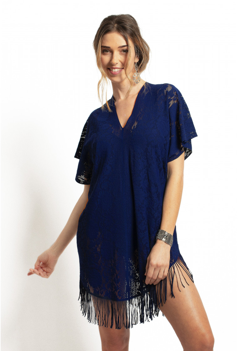 Lace Poncho Cover-up PAIN DE SUCRE, Navy - Jesse