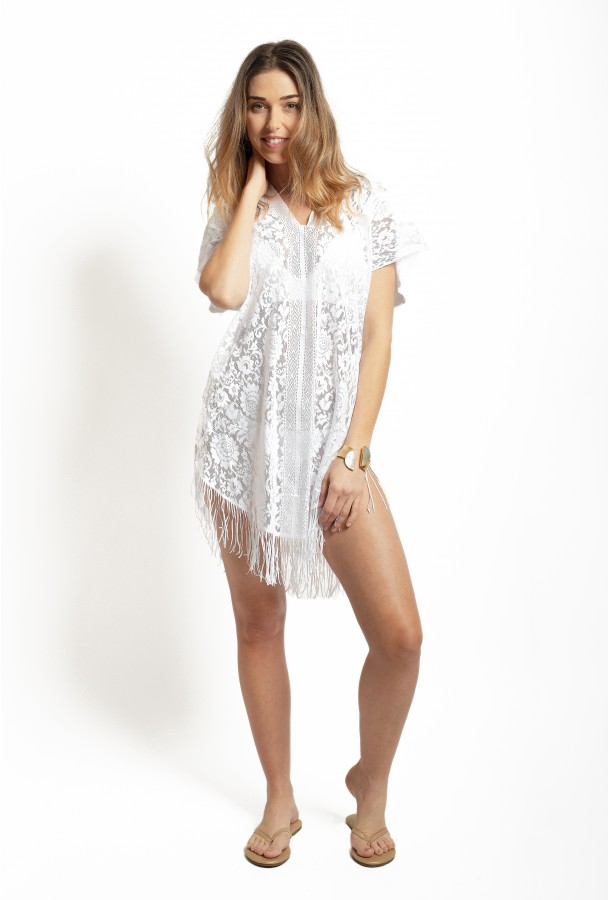 Lace Poncho Cover-up PAIN DE SUCRE, White - Jesse