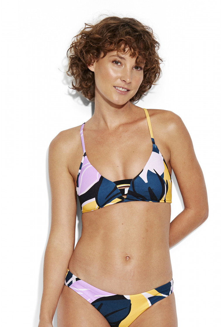 SEAFOLLY, Fixed Tri Bikini Top, Blue print - Cut Copy