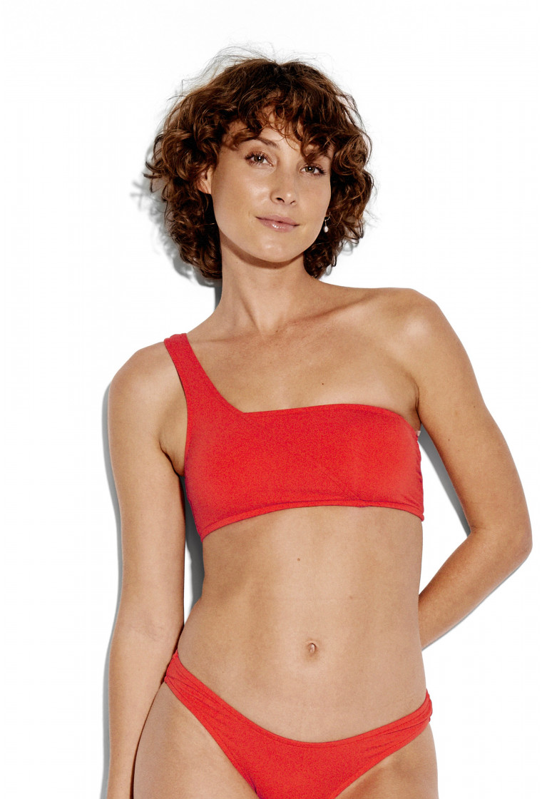 SEAFOLLY, Active One Shoulder Bandeau Bikini Top, Tangelo
