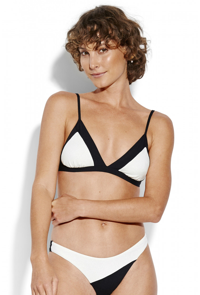SEAFOLLY, Popblock Fixed Tri Bra Bikini Top, Black