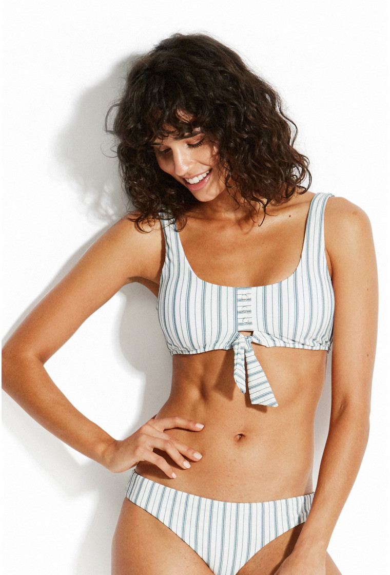 SEAFOLLY, Tie Front Tank Bikini Top, Blue - Sea Stripe