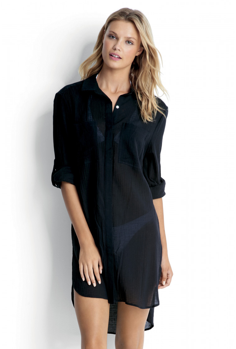 Crinkle Twill Beach Shirt, SEAFOLLY, Black
