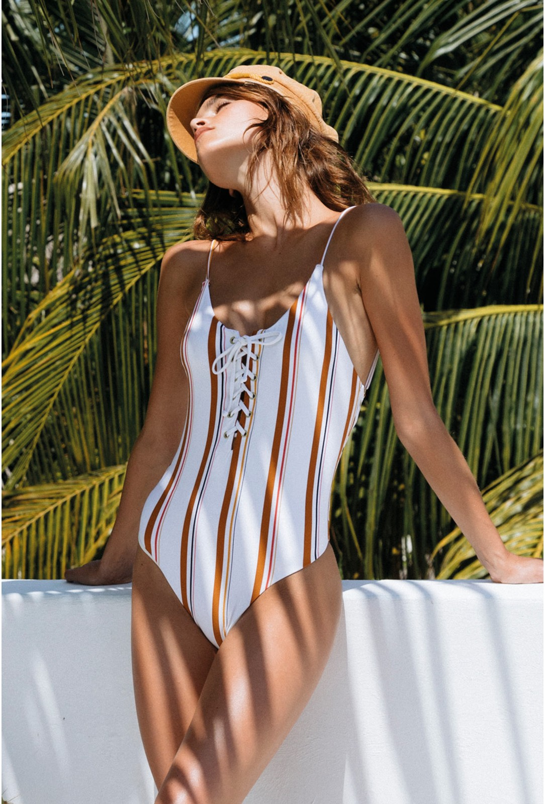 a6d0c8ed684 BILLABONG One Piece Suit, White with Stripes - Sunstruck One Piece ...