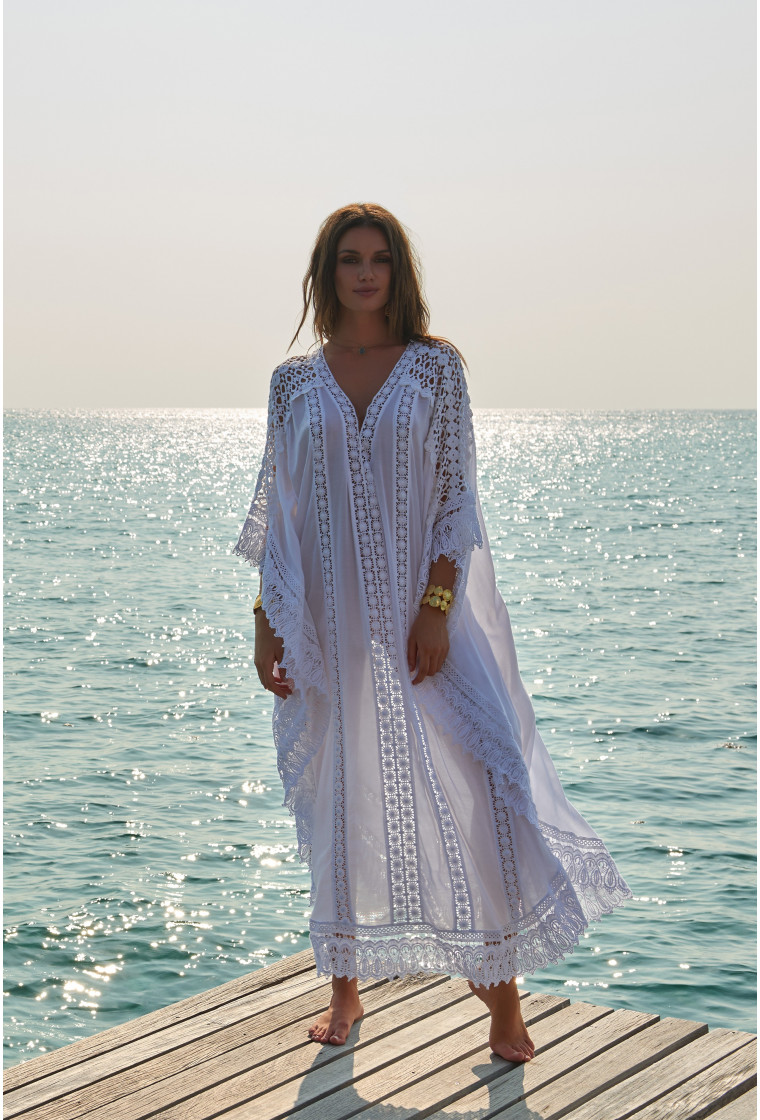 NICKI WHITE LACE EMBROIDERED V-NECK MAXI KAFTAN