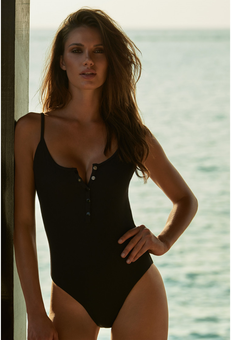 MELISSA ODABASH CALABASAS BLACK RIBBED OVER THE SHOULDER SWIMSUIT