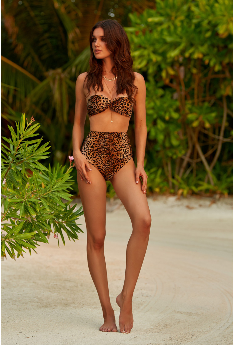 MELISSA ODABASH LYON CHEETAH HIGH WAISTED BIKINI BOTTOM