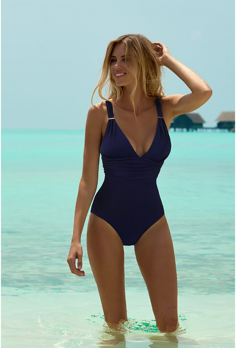 MELISSA ODABASH PANAREA NAVY CLASSIC OVER THE SHOULDER RUCHED SWIMSUIT