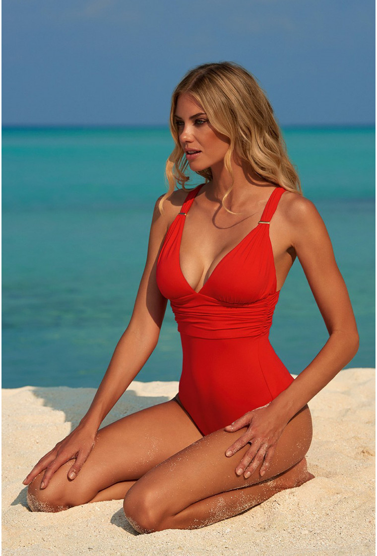 MELISSA ODABASH PANAREA RED CLASSIC OVER THE SHOULDER RUCHED SWIMSUIT