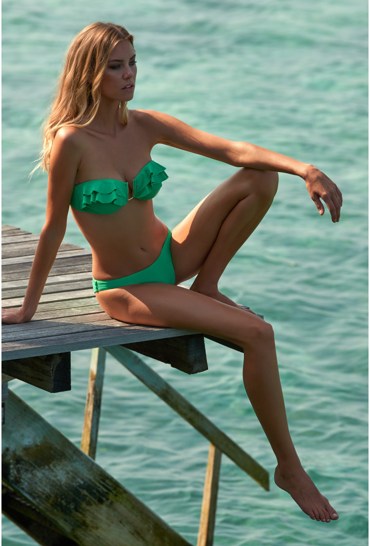 MELISSA ODABASH ST KITTS GREEN BANDEAU BIKINI TOP