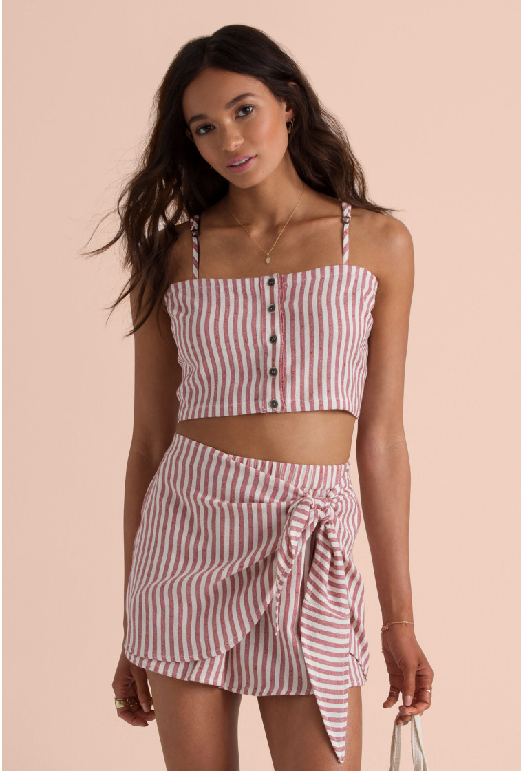 Crop Top BILLABONG, Rayures Blanc/Rouge - Straight To It