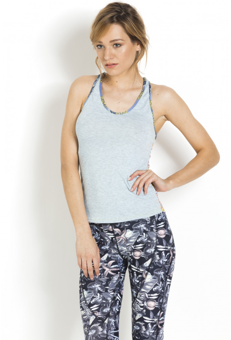 Fitness Top Running MAAJI Grey recto, Multicolour verso - Essential Groove