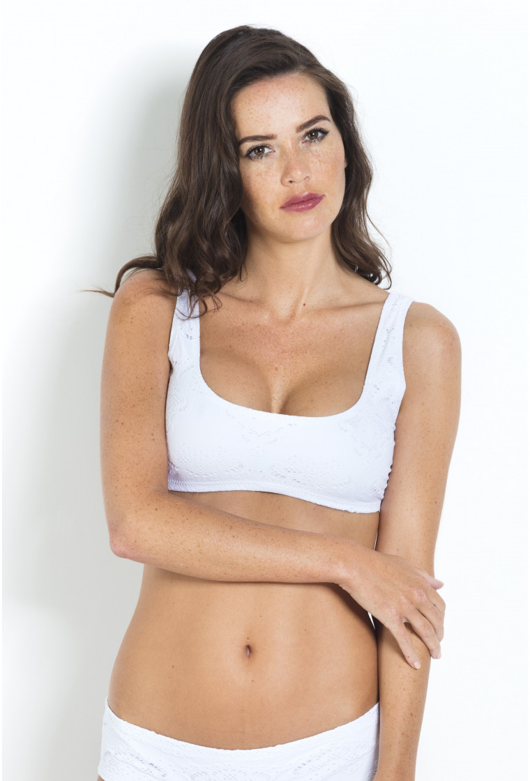 Bikini Top Embroidered Apoline PAIN DE SUCRE White - Jersey Broderie anglaise