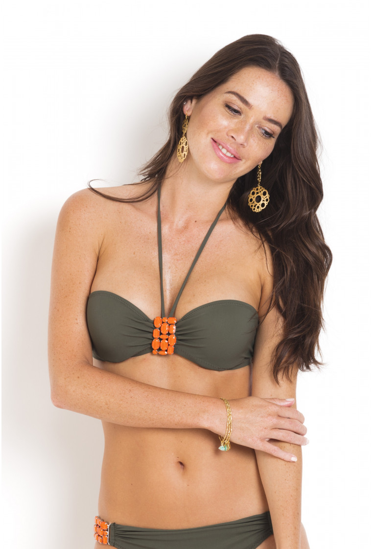 Bikini Top to tie on the neck Yano PAIN DE SUCRE Khaki - Uni Life