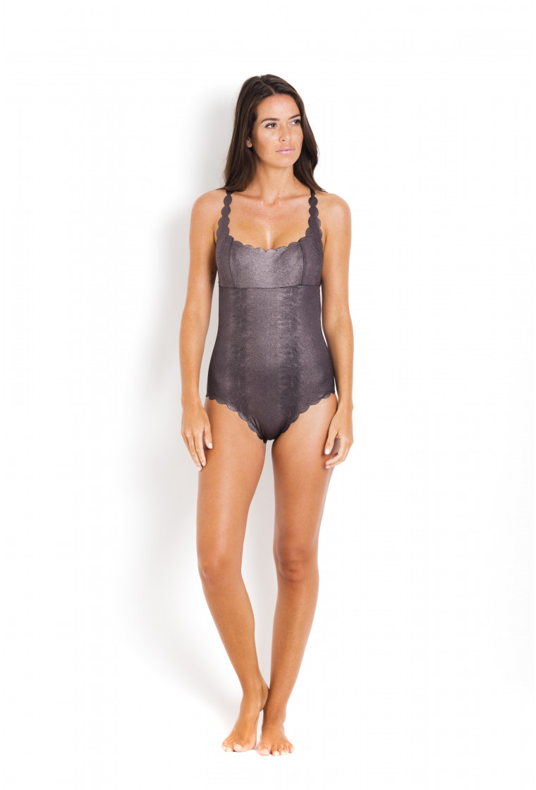 PILYQ Reversible Silver 1-piece Swimsuit Reversible Black - Sterling