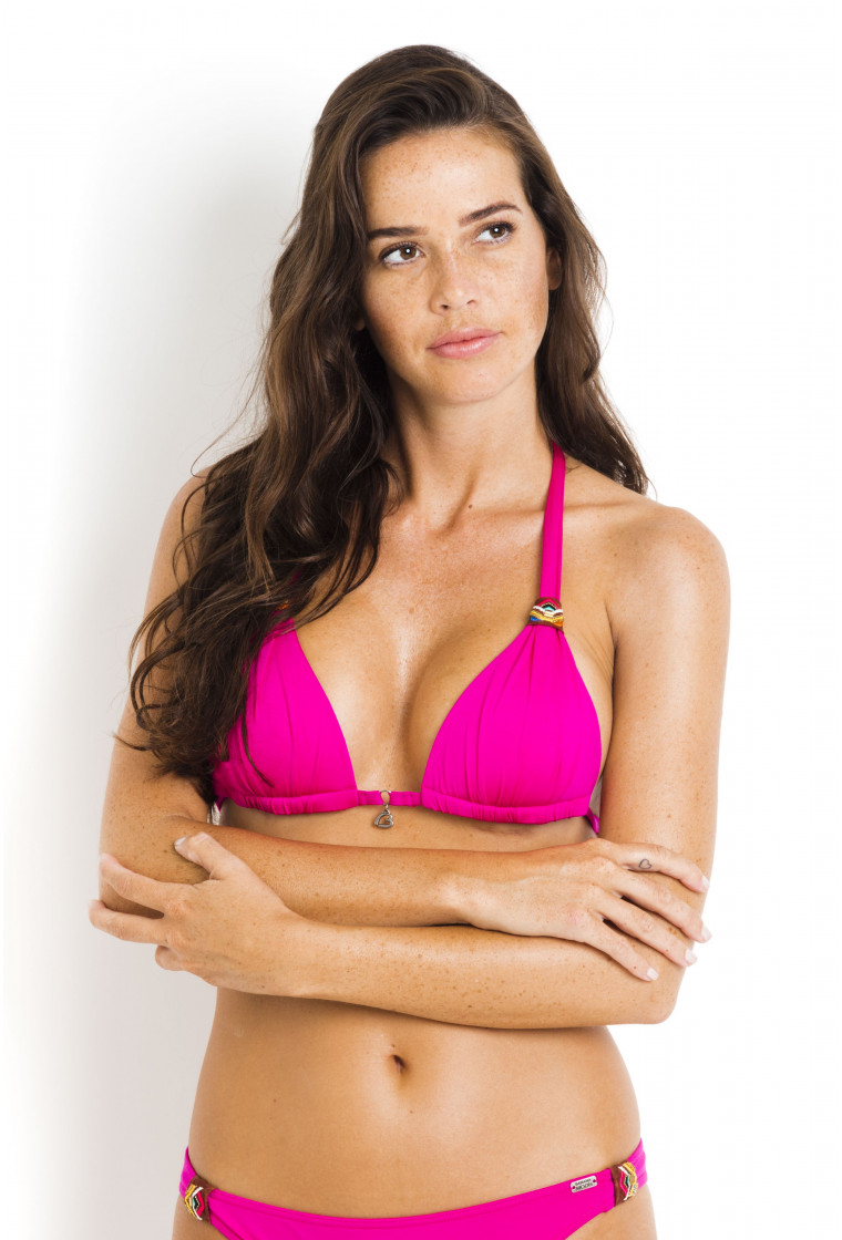 Haut de bikini triangle push up BANANA MOON fushia - Niko Ninabell