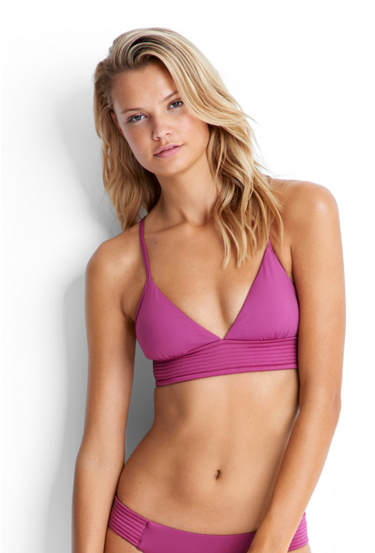 SEAFOLLY, Pink Triangle Bikini Top, Quilted Fixed