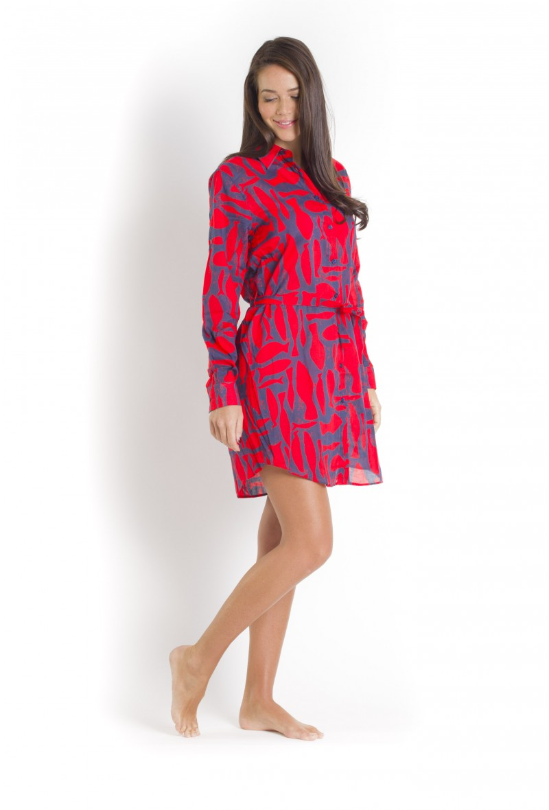Silex Fishes Long Dress Shirt VILEBREQUIN, Florence - Poppy Red Vilebrequin