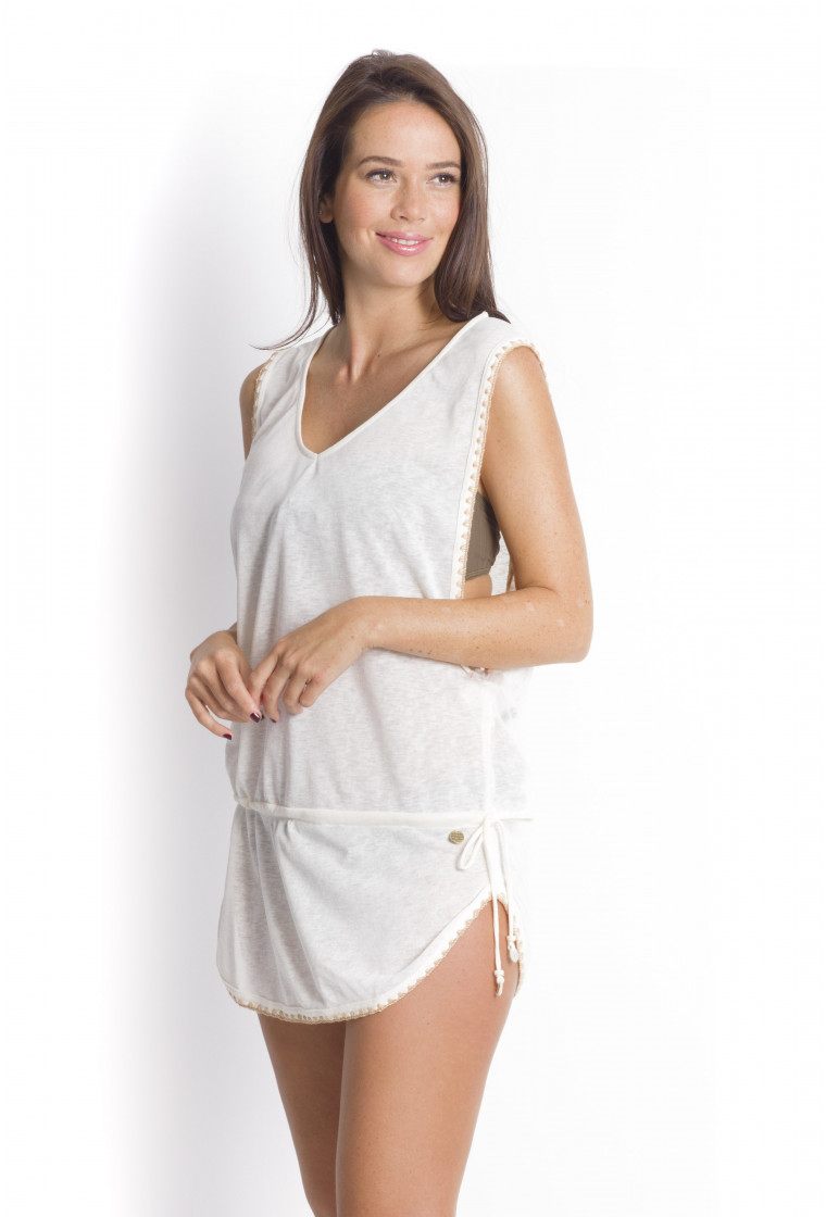 Transparent Poncho BANANA MOON Light Taupe - Cumbia farfala